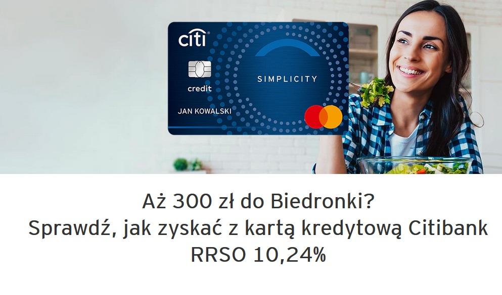 300 zł do Biedronki za kartę kredytową w Citibanku