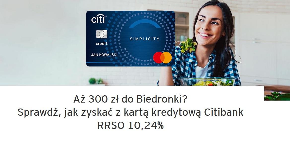 Ponownie 300 zł do Biedronki za kartę kredytową w Citibanku
