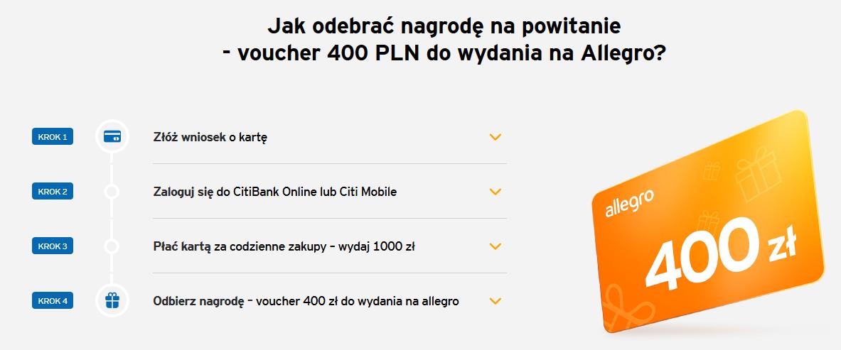 400 zł na Allegro za kartę kredytową w Citibanku