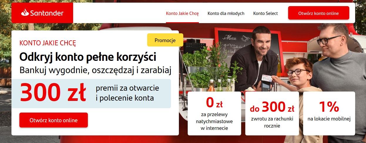 300 zł za konto w Santanderze w akcji 250 za aktywne bankowanie