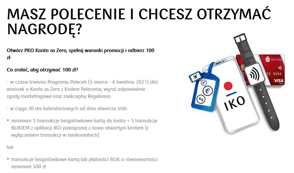 Po 100 zł za konto w PKO BP w programie poleceń