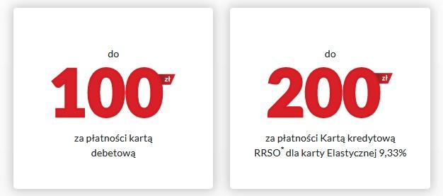 100 zł zł za konto 200 zł za kartę kredytową w Banku Pekao SA plus 100 zł w punktach