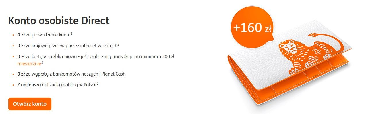 160 zł za konto w ING Banku Śląskim