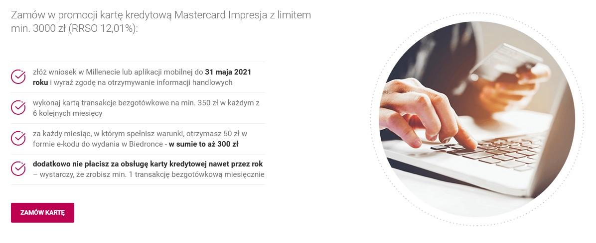 Klasyczne 300 zł do Biedronki za kartę kredytową w Banku Millennium