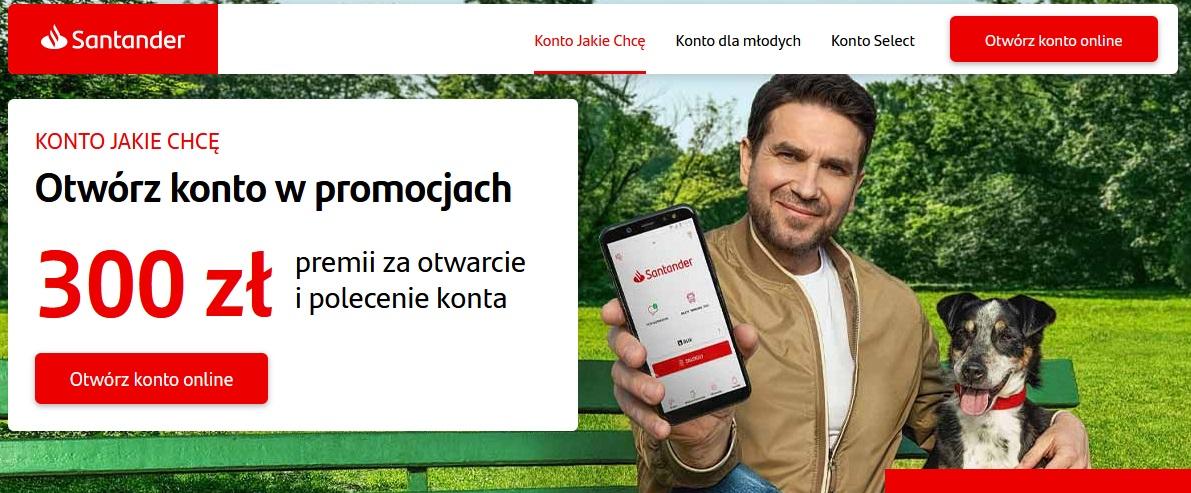 Premia 300 zł za konto w Santanderze