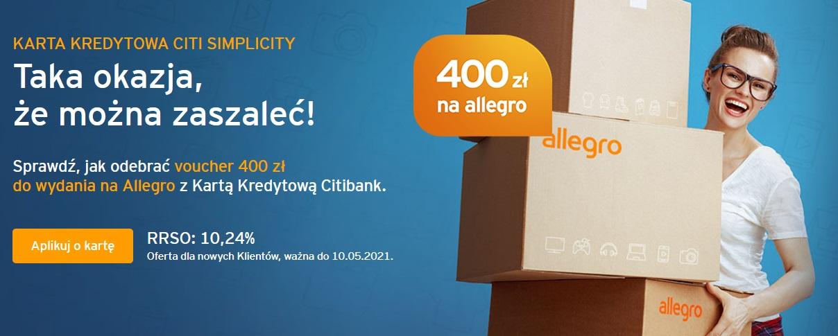 400 zł na Allegro i 100 zł w bonach za kartę kredytową w Citibanku i bonusy za konto