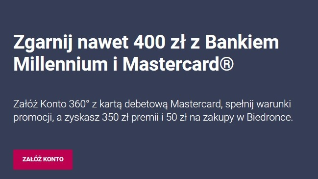 300 zł za konto w Banku Millennium plus 100 zł za pożyczkę