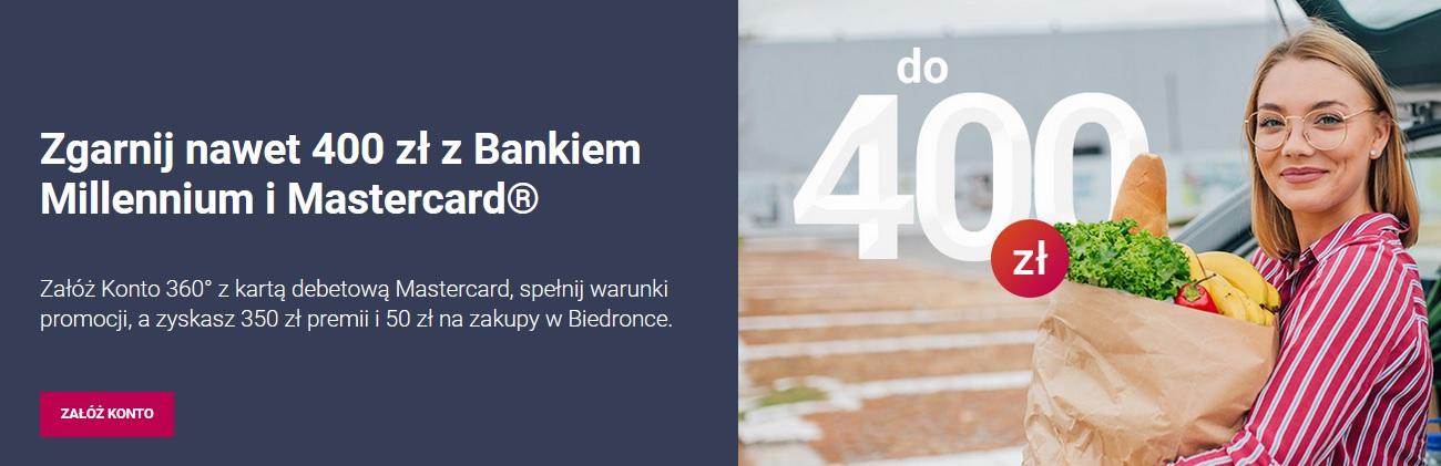 300 zł za konto w Banku Millenium oraz 100 zł za pożyczkę